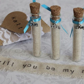 SET OF 5 Custom Message in a Bottle, Will You Be My Bridesmaid Gift, Wedding Favor, Bridal Shower, Secret Message