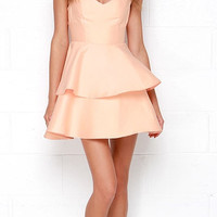 Flesh Pink V-Neck Open Back Dress with Cake Skirt