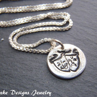 comedy tragedy necklace theater jewelry Recycled fine silver
