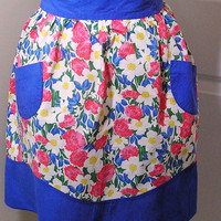 Vintage 1950s Blue, Pink, White, & Yellow Floral Cotton Apron with 2 Pockets - Very Pretty