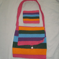 Rainbow Cupcake Hippie Bag With Small Zipper Pouch
