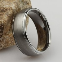 Brushed Tungsten Carbide Ring | Classic Elegance for Men