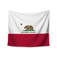"""Bruce Stanfield """"California State Flag"""" Red White Wall Tapestry"""