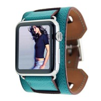 Blue Leather Ribbed iWatch Band