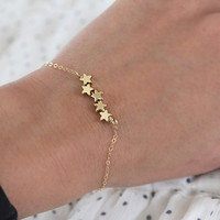$19.00 Star Bracelet  Tiny Gold Puffy Stars  Shooting Stars by junghwa