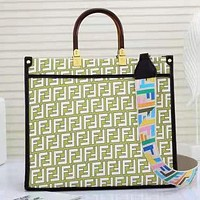 FENDI Hot Sale Colorblock Letter Printing Shopping Handbag Shoulder Bag Messenger Bag