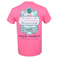 Simply Southern Preppy Classy & Happy T-Shirt - Neon Pink