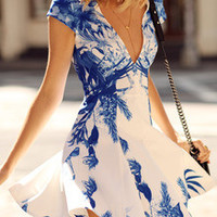 Floral Dress Spring - White Cap Sleeve V Neck Floral Print Dress