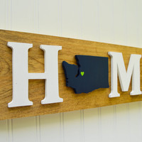 """Seattle Seahawks """"State Heart"""" Home Sign - Handcrafted wood with official team colors"""