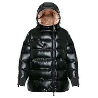 Moncler Hermine Hooded Puffer Jacket, Black, Women's