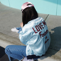 """Love Me Forever or Never"" Alphabet Embroidery Jacket [9013671108]"