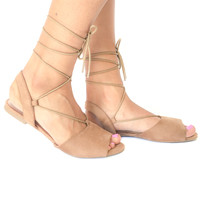 Be My Guest Lace Up Flats in Tan