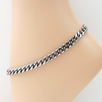 Thick stainless steel anklet, 7 mm curb chain