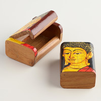 Hand-Painted Wood Buddha Boxes, Set of 2 - World Market