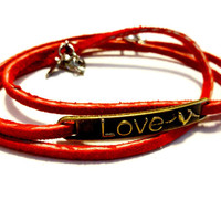 Pretty Love Bracelet, Red Leather Wrap Bracelet, Love Jewelry, Valentines Day Bracelet, Inexpensive Love Gift, Gift Under 10
