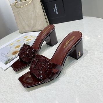 ysl women casual shoes boots fashionable casual leather women heels sandal shoes 115