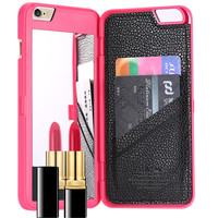 6S Slim Leather Hard Back Card Slot Cover For iPhone7 7S 7 7Splus Apple iphone 6 6S Fashion Lady Makeup Mirror Phone Case For iPhone 6 6S Plus 072702