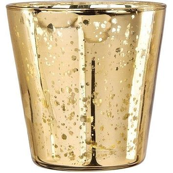 Vintage Mercury Glass Candle Holder (4-Inch, Jenna Design Cup, Gold) - Decorative Candle Holder - Home Decor, Party Decor and Wedding Centerpieces