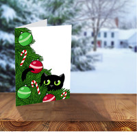 Black Cat Christmas Card, Cat in the Christmas Tree, Illustrated, For Cat Lovers, Cat Christmas Card, Hand Drawn, Illustrated Black Cat Card