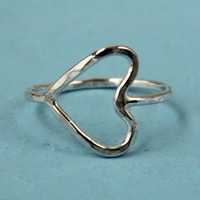 Open heart silver ring, sideways heart, sterling silver, promise ring, handmade artisan jewelry, heart ring, silver ring