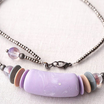 Geometric Necklace, minimal necklace Retro Beaded Necklace, Purple Peach Gray Necklace, Matte Lucite and Glass Beads Pastel Necklace