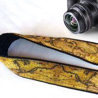 Vintage World Map Camera Strap. Christmas Gift.  Camera Accessories