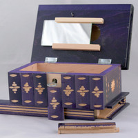 East European Puzzle-Jewelry Wooden Box Case with Secret Compartment Purple