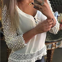 V Neck Cut Out Shirt
