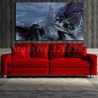 World Of Warcrafts Arthas Vs Illidan Wall Art Canvas Posters Prints Painting Wall Pictures For Office Living Room Home Decor