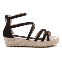 ROMWE Hollow Platform Black Kitten Sandals