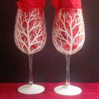 Glittery winter white trees hand painted wine glasses