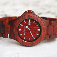 Wooden Watch For Women or Men Red Sandal Wood Watch Wrist Bracelet Quartz Vintage Watch With Calendar Round Dial Gift
