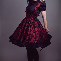 Steampunk Suspender Skirt Lolita Jumper Red and Black JSK- Custom to your size