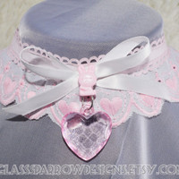 Baby Doll Collar Choker - abdl heart embroidered padlock locking collar with pink bunny, heart shaped charm -key included MADE TO ORDER