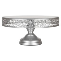 14 Inch Round Metal Wedding Cake Stand (Silver)