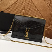 YSL SAINT LAURENT WOMEN'S LEATHER INCLINED CHAIN SHOULDER BAG