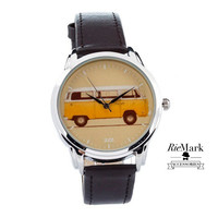 Limited Unisex Watch for Men and Women, Style Watch with Black Leather Band, Yellow Bus Watch. Wristwatch, Gift.
