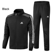ADIDAS 2018 new men's casual loose running sportswear two-piece Black