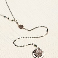 Free People Womens Delicate Long Rosary - Black Pearl, One Size