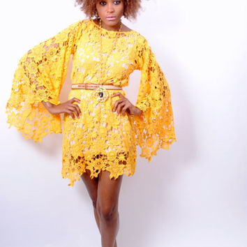 YELLOW LACE DRESS bell sleeve crochet dress - loose fit boho dress vintage inspired 70s style
