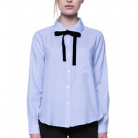 Stripe Blouse with Velvet Tie