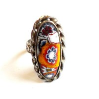 Vintage Millefiori Ring - Adjustable Band - Art Glass Cabochon - Silver Tone Metal - Statement Ring - Glass Cane - Multi Color Flower