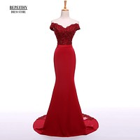 BEPEITHY Sexy Off The Shoulder Long Evening Dress Party Elegant 2017 100% Handmade Beadings Mermaid Prom Gowns Fast Shipping