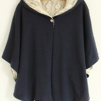 Round Neck Dark blue cotton and lace three quarters sleeve casual hoodie  cardigan type  Bat sleeves Pop  style zz92700702 in