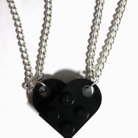 BFF Heart Necklace Set - Made of LEGO Bricks - Friendship Necklace Gift Set - 2 necklaces in Organza Gift Pouches
