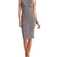 Black Combo Marled Ribbed Bodycon Midi Dress by Charlotte Russe