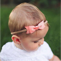 1 PC Boutique Two Layers Grosgrain Ribbon Headband For Newborn Toddler Baby Girls Elastic Bow Hair Band Head Accessories
