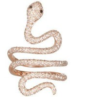 Elise Dray Demi Serpent pink gold and brown diamonds ring - Polyvore