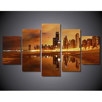 Chicago Late Evening 5-Piece Wall Art Canvas