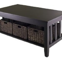 Winsome Morris Coffee Table with 3-Foldable Basket